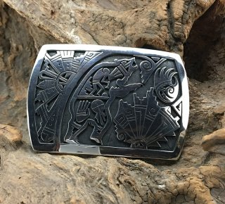 Hopi Berra Tawahongva Overlay Belt Buckle