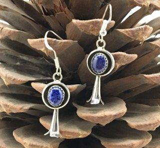 Navajo Lapis Lazuli Squash Blossom Earrings