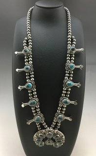Navajo Thomas Francisco Bisbee Turquoise Squash Blossom Naja Necklace and Earrings Set