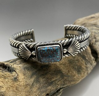Navajo Steve Arviso Natural High Grade Prince Turquoise Cuff Bracelet