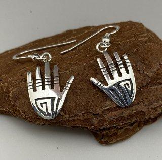 Hopi Willis Humeyestewa Hand Motif Overlay Earrings
