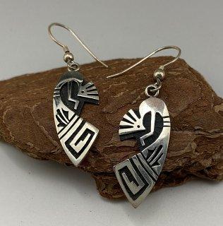 Hopi Willis Humeyestewa Kokopelli Motif Overlay Earrings
