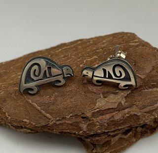 Hopi Steven Pooyouma Turtle Motif Overlay Earrings