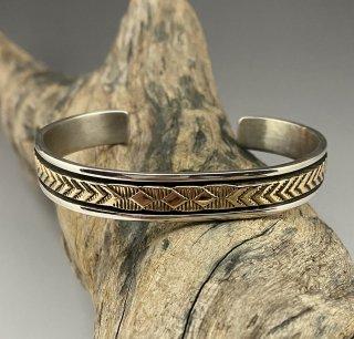Navajo Bruce Morgan Silver & 14K Gold Stamp Cuff Bracelet