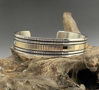 Navajo Bruce Morgan 14K & Silver Cuff Bracelet