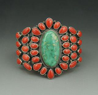 Navajo Kirk Smith Carico Lake Turquoise and Mediterranean Red Coral Cluster Bracelet