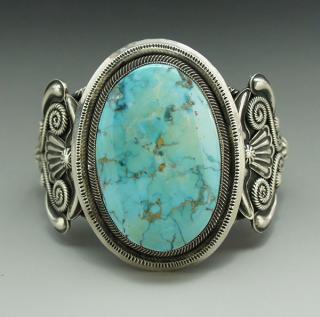 Navajo Jess Wright Martinez Big Morenci Turquoise Bracelet