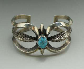 Navajo Aaron Anderson Canderalia Turquoise Tufa Cast Bracelet