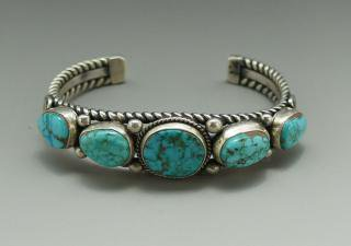 Navajo Verna Benally Natural Red Mountain Turquoise Bracelet