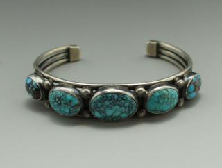 Navajo Verdy Jake Natural Number 8 Turquoise Bracelet