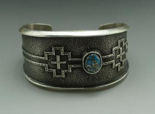 Navajo Aaron Anderson Hige Grade Morenci Turquoise Tufa Cast Bracelet