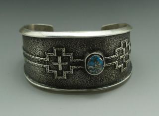 Navajo Aaron Anderson Hige Grade Morenci Turquoise Tufa Cast Bracelet