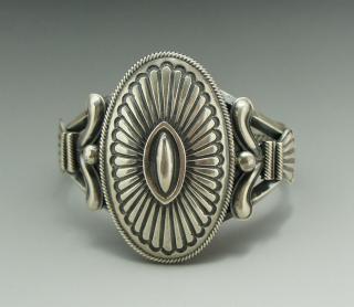 Navajo Leon Martinez Silver Concha Bracelet