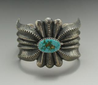 Navajo Harrison Jim Kingman Turquoise Tufa Cast Bracelet