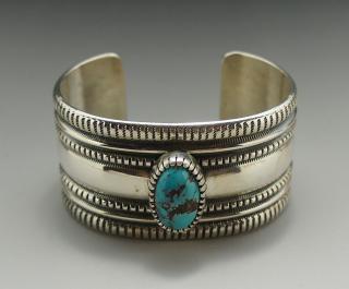Navajo Harrison Jim Kingman Turquoise Hand Stamping Silver Bracelet