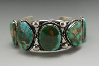 Navajo Leonard Nez Natural Royston Turquoise Row Bracelet