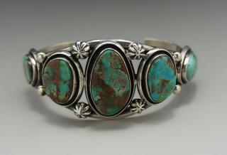 Navajo Leonard Nez Natural King's Manassa Turquoise Bracelet
