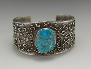 Navajo Delford Yazzie Natural Morenci Turquoise Tufa Cast Bracelet