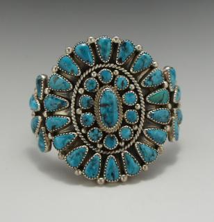Navajo Mike Platero Kingman Turquoise Cluster Bracelet