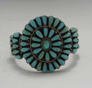Navajo Larry Moses Begay Turquoise Cluster Bracelet