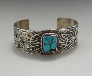 Navajo Anthony Bowman Natural Candelaria Turquoise Tufa Cast Bracelet