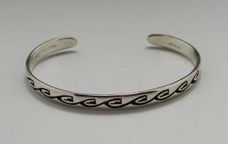 Hopi Alaric Polequaptewa Overlay Bracelet