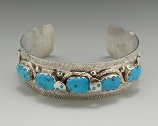 Zuni Effie Calavaza Kingman Turquoise Bracelet