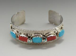 Zuni Effie Calavaza Kingman Turquoise and Red Coral Bracelet