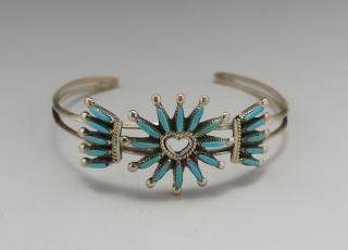 Zuni Gerald Etsate Sleeping Beauty Turquoise Needlepoint Bracelet