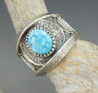 Navajo Harrison Jim Kingman Turquoise Tufa Cast Ring