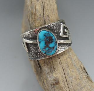 Navajo Aaron Anderson Natural Morenci Turquoise Tufa Cast Ring