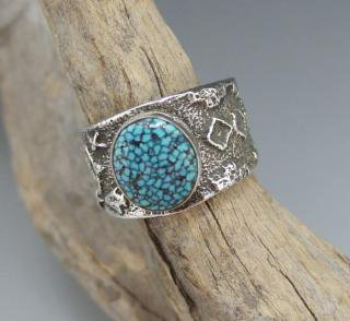 Navajo Delford Yazzie Natural Hige Grade Spider Web Kingman Turquoise Tufa Cast Ring