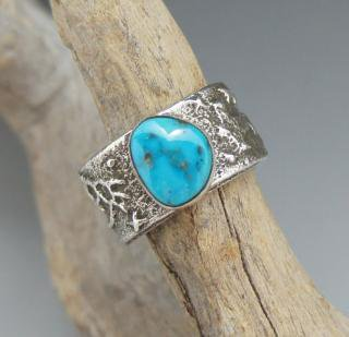 Navajo Delford Yazzie Natural Morenci Turquoise Tufa Cast Ring