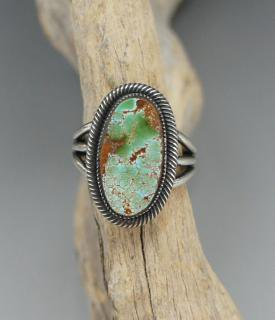 Navajo Leon Martinez Natural Pilot Mountain Turquoise Ring