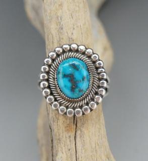 Navajo Leon Martinez Natural Candelaria Turquoise Ring