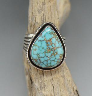 Navajo Leonard Nez Natural Carico Lake Turquoise Ring