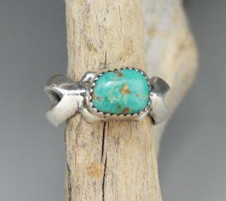 Navajo Wilford B Henry Blue Gem Turquoise Sand Cast Ring
