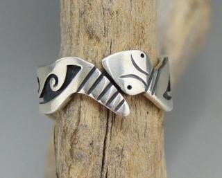 Hopi Lendrick Lomayestewa Snake Overlay Ring