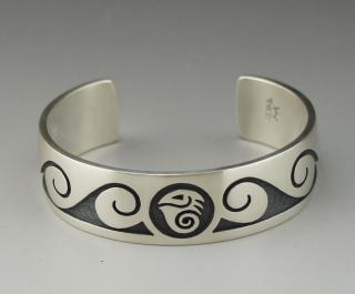 Hopi Weaver Selina Water Bird Overlay Bracelet