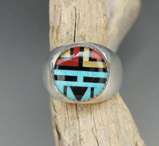 Zuni Barbara Dewa Sun Face Inlay Ring
