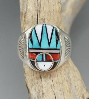 Zuni Clarence Booqua Inlay Ring