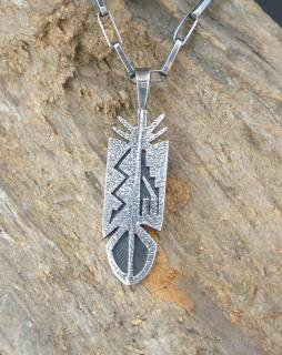 Hopi Gerald Honwytewa Tufa Cast and Overlay Feather Pendant