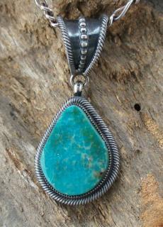 Navajo Leon Martinez Natural Royston Turquoise Pendant