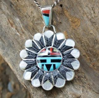 Zuni Don Dewa Sunface Inlay Pendant