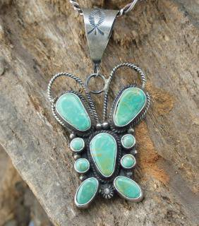 Navajo Dean Brown Pilot Mountain Turquoise Butterfly Pendant