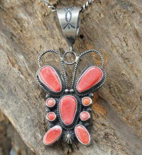 Navajo Dean Brown Spiny Oyster Butterfly Pendant