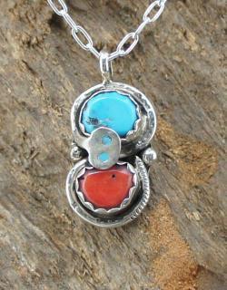 Zuni Effie Calavaza Kingman Turquoise Coral Pendant