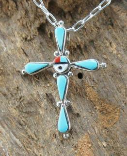 Zuni Josie Haloo Inlay Cross Pendant