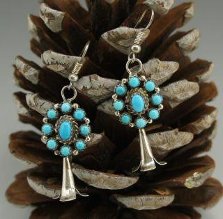 Navajo Turquoise Squash Blossom Earrings