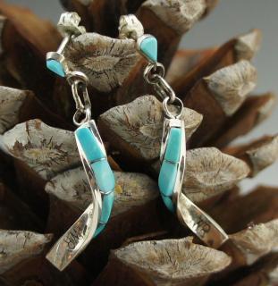 Zuni Turquoise Inlay Twist Earrings